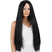 女性 人工毛ウィッグ フロントレース ロング丈 非常に長いです ストレート ブラック ナチュラルヘアライン ミドル部 ナチュラルウィッグ コスチュームウィッグ