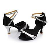 Mujer Zapatos de Baile Latino Seda Sandalia Tacón Personalizado Personalizables Zapatos de baile Negro y Plateado / Interior / Cuero