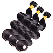 人毛 インディアンヘア 人間の髪編む ウェーブ ヘアエクステンション 1個 ジェットブラック