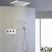 コンテンポラリー LED シャワーシステム サイドスプレー レインシャワー ハンドシャワーは含まれている ライト セラミックバルブ 3つのハンドル5つの穴 クロム , シャワー水栓