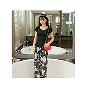 Mujer Pequeño Negro Vestido Casual/DiarioUn Color Escote en Pico Sobre la rodilla 1/2 Manga Seda Verano Tiro Alto Microelástico Medio