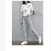 Mujer Sencillo Noche Casual/Diario Verano T-Shirt Pantalón Trajes,Escote Redondo Estampado Manga Corta