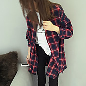 レディース カジュアル/普段着 シャツ,シンプル シャツカラー チェック コットン 長袖