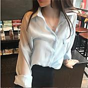 レディース カジュアル/普段着 Tシャツ,シンプル シャツカラー ソリッド その他 長袖
