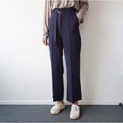 Mujer Sexy Tiro Alto Microelástico Corte Ancho Pantalones,Corte Ancho Un Color