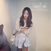 レディース お出かけ カジュアル/普段着 夏 Tシャツ,セクシー キュート ストリートファッション Vネック ストライプ コットン 半袖