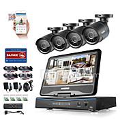 Sannce® 8ch 4pcs 720p lcd dvr odolnost proti povětrnostním vlivům bezpečnostní systém podporovaný analog ahd tvi ip camera