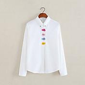 レディース カジュアル/普段着 春 夏 シャツ,シンプル シャツカラー 刺しゅう コットン 長袖 薄手