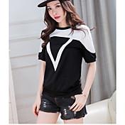 レディース カジュアル/普段着 Tシャツ,シンプル ラウンドネック カラーブロック コットン 半袖