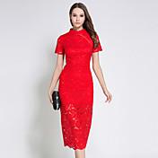 Mujer Tejido Oriental Vaina Encaje Vestido - Encaje Retro, Un Color Escote Chino