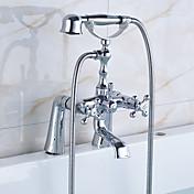 アンティーク 田園風 伝統風 バスタブとシャワー ハンドシャワーは含まれている 組み合わせ式 回転可 セラミックバルブ 二つ 3つのハンドル二つの穴 クロム, 浴槽用水栓