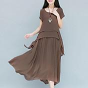 Mujer Tejido Oriental Gasa / Corte Swing Vestido Un Color Midi / Corte Ancho