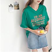 レディース カジュアル/普段着 Tシャツ,シンプル Vネック ソリッド レタード コットン 半袖