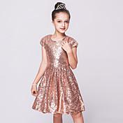 una línea de longitud de la rodilla vestido de niña de flores - malla de lentejuelas cuello joya sin mangas con lentejuelas por bflower