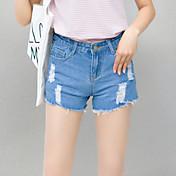 レディース シンプル ミッドライズ ワイドレッグ 非弾性 ショーツ パンツ ソリッド
