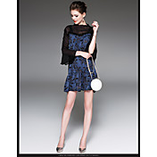 Mujer Corte Bodycon Encaje Vestido Casual/Diario Un Color Estampado Escote Redondo Hasta la Rodilla Manga Corta Poliéster 100% algodón