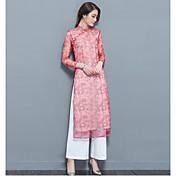 Mujer Empapa Diario Verano Blusa Falda Trajes,Escote Redondo Floral Estampado Pantalón largo