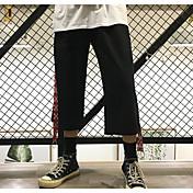 レディース シンプル ミッドライズ ワイドレッグ 非弾性 ワイドレッグ パンツ ソリッド ストライプ