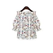レディース カジュアル/普段着 Tシャツ,シンプル オフショルダー フラワー プリント コットン 七分袖