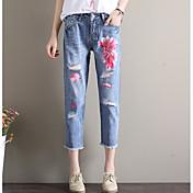 Mujer Chic de Calle Tiro Medio Microelástico Perneras anchas Holgado Pantalones,Floral Verano
