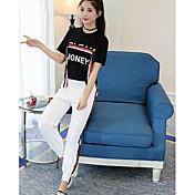 レディース カジュアル/普段着 夏 Tシャツ(21) パンツ スーツ,現代風 ラウンドネック プリント レタード 半袖