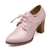 Mujer Zapatos PU Primavera Otoño Innovador Confort Tacones Tacón Robusto Dedo redondo Con Cordón Para Casual Vestido Blanco Azul Rosa