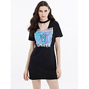 Mujer Camiseta Vestido Diario Casual Sensual,Estampado Escote en V Profunda Sobre la rodilla Manga Corta Algodón Verano Tiro Medio