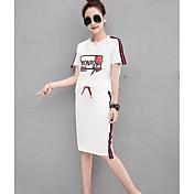 Mujer Casual Diario Casual Verano T-Shirt Falda Trajes,Escote Redondo Estampado Manga Corta Microelástico