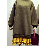 Mujer Sudadera Noche Un Color Bloques Escote Redondo Microelástico Algodón Manga Larga Primavera Otoño