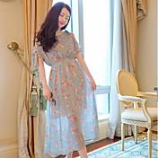 Mujer Corte Ancho Vestido Casual/Diario Floral Estampado Escote Redondo Hasta la Rodilla Manga Corta Rayón Poliéster 100% algodón Verano