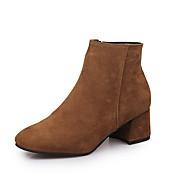 Mujer Zapatos Semicuero Otoño Invierno Confort Botas Tacón Bajo Botines/Hasta el Tobillo Para Casual Negro Color Camello Almendra