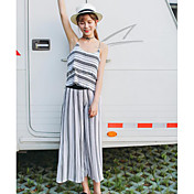 Mujer Simple Casual/Diario Verano T-Shirt Pantalón Trajes,Con Tirantes A Rayas Sin Mangas