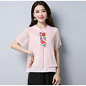 レディース カジュアル/普段着 Tシャツ,アジアン・エスニック Vネック 刺繍 ポリエステル 半袖