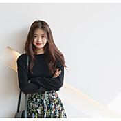 Mujer Regular Pullover Casual/Diario Un Color Escote Redondo Manga Larga Algodón Primavera Otoño Medio Rígido