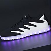 Hombre Zapatillas de Atletismo Suelas con luz Zapatos con luz Primavera Otoño PU Paseo Deportivo Con Cordón LED Tacón Plano Negro y Oro
