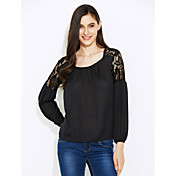 blusa de encaje de mujer (algodón) cuello redondo, moda, gasa de manga larga