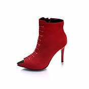 女性用 靴 繊維 春 秋 コンフォートシューズ ブーツ スティレットヒール ブーティー/アンクルブーツ のために カジュアル ブラック レッド グリーン