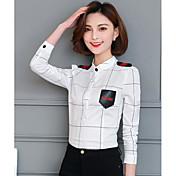 レディース カジュアル/普段着 シャツ,シンプル クルーネック プリント コットン 長袖
