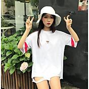 Mujer Chic de Calle Noche Camiseta,Escote Redondo Letra Media Manga Algodón