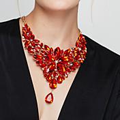 Mujer Flor Lujo Moda Europeo Elegant Collares Declaración Collares Babero Piedras preciosas sintéticas Resina Collares Declaración