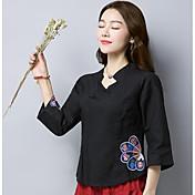 レディース カジュアル/普段着 春 シャツ,シンプル アジアン・エスニック スタンド 刺繍 リネン 七分袖 ミディアム