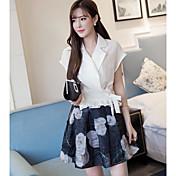 レディース カジュアル/普段着 夏 シャツ スカート スーツ,シンプル シャツカラー プリント 半袖
