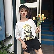 Mujer Chic de Calle Casual/Diario Camiseta,Escote Redondo Estampado Media Manga Algodón