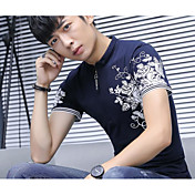 メンズ カジュアル/普段着 Tシャツ,シンプル ワイドカラー フラワー プリント コットン ポリエステル 半袖
