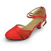 Mujer Moderno Tul Tejido Sandalia Tacones Alto Entrenamiento Tacón Cubano Negro Rojo