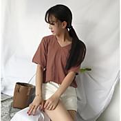 Mujer Regular Pullover Playa Un Color Escote en Pico Manga Corta Otro Verano Medio Microelástico