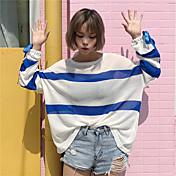 レディース カジュアル/普段着 Tシャツ,シンプル ラウンドネック ストライプ コットン 長袖