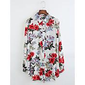 レディース カジュアル/普段着 シャツ,シンプル シャツカラー ソリッド プリント コットン 長袖