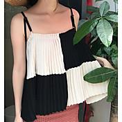 Mujer Simple Casual/Diario Blusa,Con Tirantes Estampado Sin Mangas Algodón