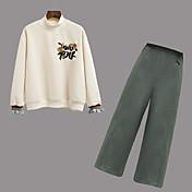 レディース お出かけ 春 Tシャツ(21) パンツ スーツ,ストリートファッション ラウンドネック ソリッド フラワー 刺繍 長袖 非弾性